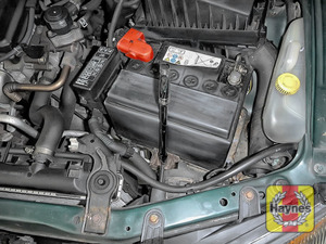 Illustration of step: Check the battery is generally secure, and if loose, tighten the battery retainer using a 13mm spanner or socket - step 5