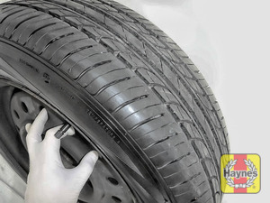 Illustration of step: Check the tread depth and condition of the tyres before refitting the wheels - step 15