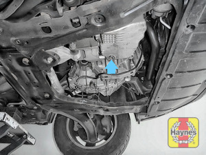 Illustration of step: The sump plug is located on the base of the engine, and it is accessed from underneath the car - step 4