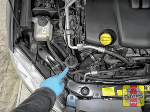 Illustration of step: Locate the screen wash filler cap - step 1