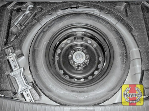 Illustration of step: Finally, check the condition of the spare wheel/emergency tyre repair system - step 14