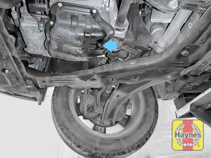 Illustration of step: The sump plug is located on the base of the engine, and it is accessed from underneath the car - step 3