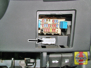 Illustration of step: The diagnostic connector is located on the driver's side of the fascia behind the fuse access panel - step 2