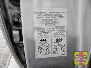 Illustration of step: Look for a sticker showing your vehicle's tyre pressures, which is located in the driver's door aperture - step 3