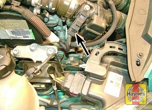 Illustration of step:  Air mass meter wiring plug  - 1.6 litre engines - step 13
