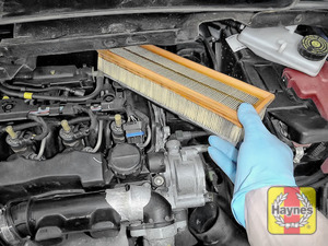 Illustration of step:  Lift out the air filter - check condition - step 19