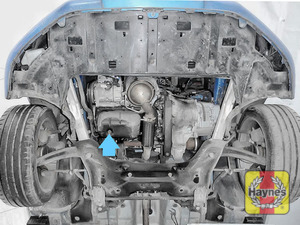 Illustration of step: The sump plug is is accessed underneath the car - step 1