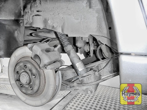 Illustration of step: Take a good look around the brake system and the suspension arm, check for any leaks - step 12