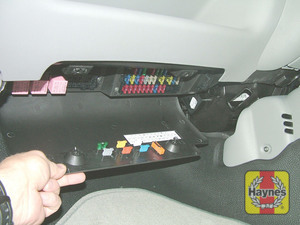 Illustration of step: Open the passenger's-side fascia panel to access the fusebox - step 1