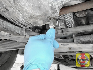 Illustration of step: Use an 8mm SQUARE socket, to carefully remove the sump plug and fully drain the oil - step 5