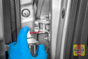 Illustration of step: Why not lubricate your hinges? Use a can of lithium grease – spray a very small amount onto each door hinge, and don't forget the bonnet catch - step 4