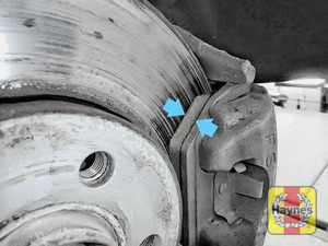 Illustration of step: Now locate the brake pads, there are two, one on each side of the disc - step 5