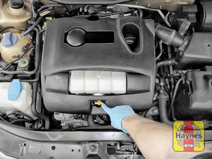 Illustration of step: Locate the engine oil dipstick - step 1