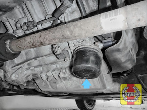 Illustration of step: The oil filter is located here - it is accessed from underneath the car - step 1