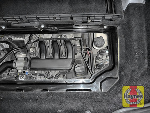 Illustration of step: Coolant reservoir is located here, at the top right of the engine compartment  - step 1