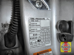 Illustration of step: Look for a sticker showing your vehicle's tyre pressures, located in the driver's door aperture - step 3