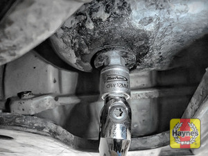 Illustration of step: Using a 12mm Allen key socket, carefully remove the sump plug and fully drain the oil - step 4