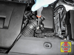 Illustration of step: Undo circular clip on the air intake - use a 7mm socket or Phillips screwdriver - step 4