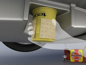 Illustration of step: TIP! If you don't have a oil filter wrench, try using some sandpaper to grip the old oil filter, this only works where you can get a good grip of the filter, not always possible on european cars!  - step 4
