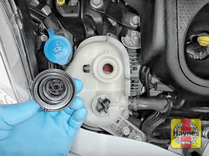 Illustration of step: ONLY WHEN COLD - If required, undo the cap to add more coolant - step 4