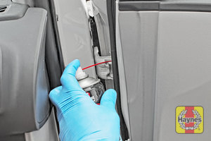 Illustration of step: Why not lubricate your hinges? Using a can of lithium grease, spray a very small amount onto each door hinge and the bonnet catch - step 5
