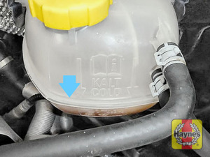 Illustration of step: Look for the MAX-MIN position on the side of the coolant reservoir - if the level is below MIN you will need to add more coolant - step 2