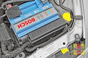 Illustration of step: Check battery is generally secure, if loose, tighten the battery retainer - step 5
