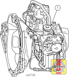 Illustration of step:  On Easytronic transmission models, the hydraulic fluid level markings are on the side of the reservoir on the front of the transmission - Safety first! - step 31