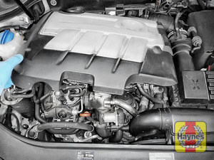 Illustration of step: It is easy to access if you pop off the engine cover - use both hands - step 5