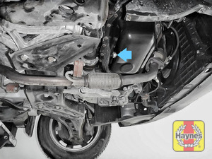 Illustration of step: The sump plug is located on the base of the engine, it is accessed underneath the car - step 1