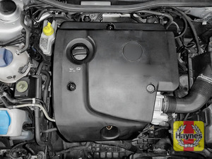 Illustration of step: The location of the oil filter cartridge is underneath the engine cover - step 1