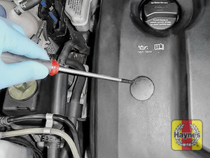 Illustration of step: Firstly, using a screwdriver, prise the three plastic discs on the engine cover - step 14