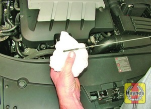 Illustration of step:  Using a clean rag or paper towel, wipe all oil from the dipstick - Car care - step 10
