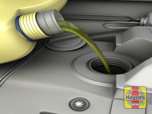 Illustration of step: Carefully add the oil, mop up any spills with a paper towel - step 6