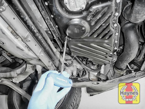 Illustration of step: Using a 6mm (Allen key) socket, carefully remove the sump plug and fully drain the oil - step 7