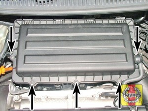 Illustration of step:  Undo the air filter cover screws …  - 1.4 litre engines - step 10