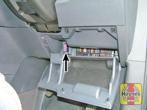 Illustration of step: Fold open this panel to access the diagnostic socket - step 2