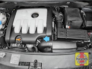 Illustration of step: The location of oil filter is under the engine cover  - step 1