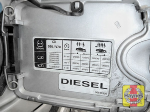 Illustration of step: Look for a sticker showing your vehicles tyre pressures, located in the fuel flap - step 3