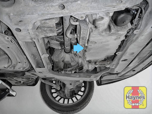 Illustration of step: The sump plug located on the base of the engine, it is accessed underneath the car - step 1