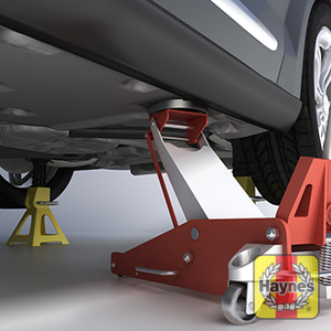 Illustration of step: Using the jacking locations as specified in the handbook, carefully raise the car using the trolley jack - step 4