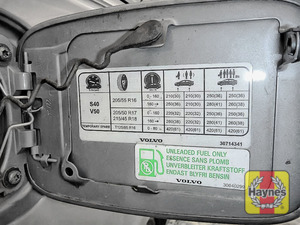 Illustration of step: Look for a sticker on the inside of the fuel filler door, showing the tyre pressures - step 3