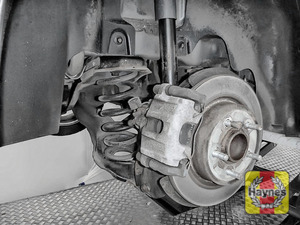 Illustration of step: Take a good look the around brake system and the suspension arm, checking for any leaks - step 12