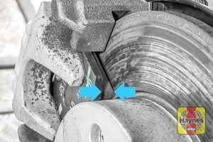 Illustration of step: Locate the brake pads to determine wear thickness - step 11