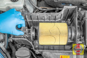 Illustration of step: Slide the air filter retaining pin to release the air filter for inspection - step 5