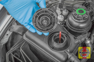 Illustration of step: ONLY WHEN COLD - Open the coolant filler cap to reveal the floating coolant level indicator  - step 3