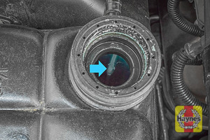 Illustration of step: If the coolant level is up to the marker bar (or over) - there is sufficient coolant - step 3