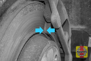 Illustration of step: Now locate the brake pads, there are two, one on each side of the disc - step 4