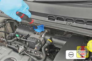 Illustration of step: First, undo the circular clip on the air intake - use a 7mm socket or a screwdriver - step 2