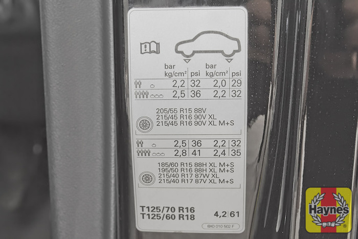 Audi A1 2010 2017 1 6 Tdi Checking Tyre Pressures